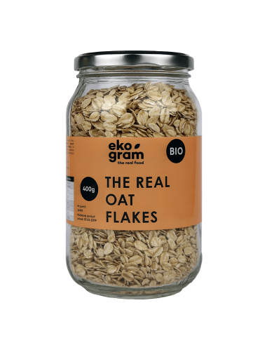 Organic Oat Flakes 400g glass jar ekogram